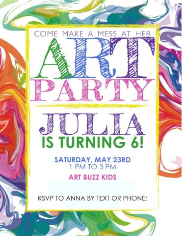 Painting Birthday Party Invitation, designed by Anna Hartman, Creative
