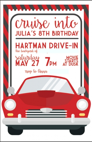 Backyard Movie Birthday Party Invitation, designed by Anna Hartman, Creative