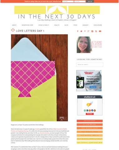 In The Next 30 Days, designed by Anna Hartman, Creative