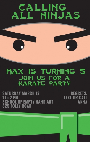 Ninja Birthday Party Invitation, designed by Anna Hartman, Creative